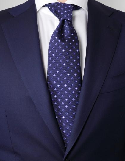 Luigi Borrelli Krawatte in dunkelblau mit blauen Blumen