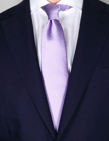 Borrelli Krawatte in flieder mit weißen Punkten