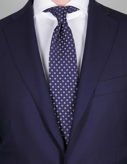 Luigi Borrelli Krawatte in dunkel blau mit blauen und weißen Blumen
