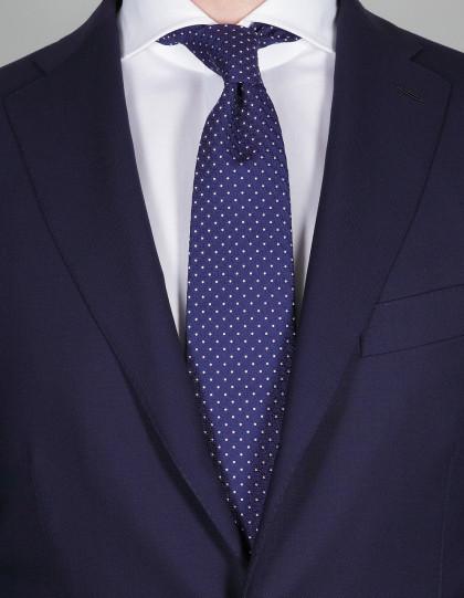 Luigi Borrelli Krawatte in dunkel blau mit rosa Punkten
