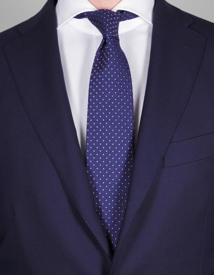 Luigi Borrelli Krawatte in dunkel blau mit lila Punkten