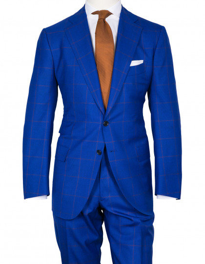 Cesare Attolini Anzug in blau mit braunem Glencheck-Muster aus Super 130'S Wolle/Kaschmir