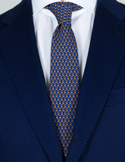 Kiton Krawatte in dunkelblau mit braunem Muster