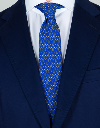 Kiton Krawatte in blau it grauem Muster