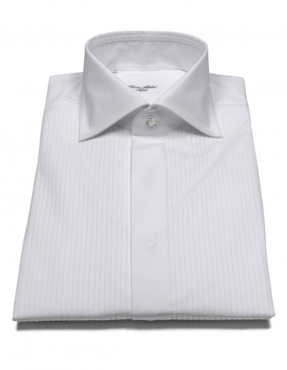 Cesare Attolini Smokinghemd in weiß mit Struktur, verdeckter Knopfleiste und Haikragen