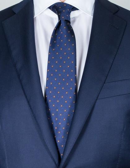 Cesare Attolni Krawatten in dunkelblau mit braun-weißen Blumen