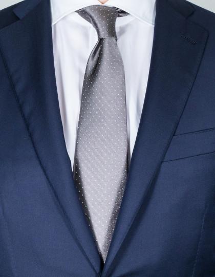 Luigi Borrelli Krawatte in grau mit weißen Punkten