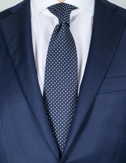 Luigi Borrelli Krawatte in dunkelblau mit weißen Karos