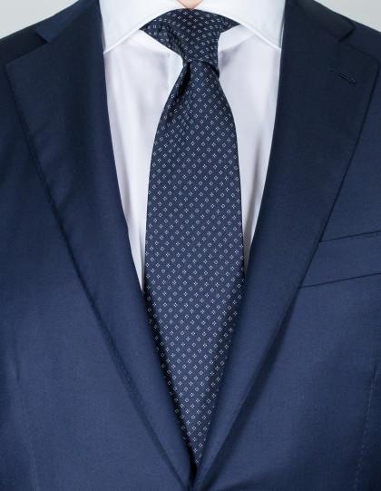 Luigi Borrelli Krawatte in dunkelblau mit weißem Muster