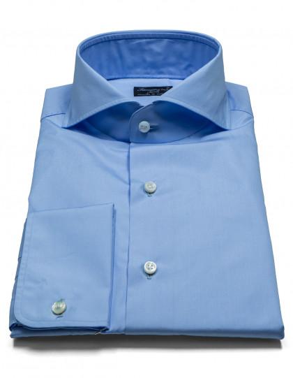 Finamore 1925 Hemd in hellblau mit Doppelmanschette und Haikragen