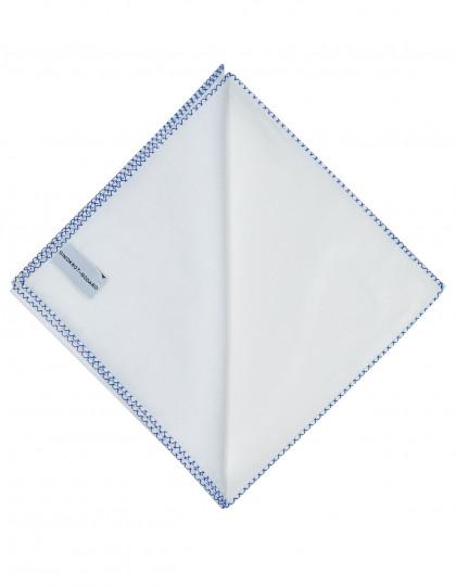 Simonnot Godard Einstecktuch in weiß mit handrollierter blau-weißer Borte