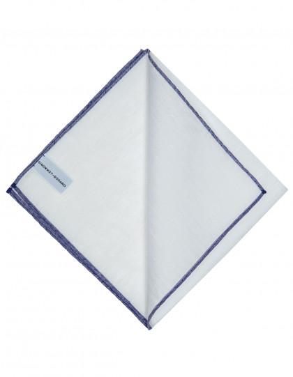 Simonnot Godard Einstecktuch in weiß mit handrollierter dunkelblauer Borte