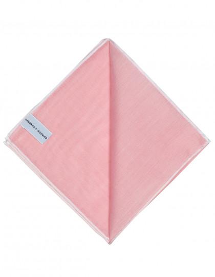 Simonnot Godard Einstecktuch in rosa mit handrollierter weißer Borte