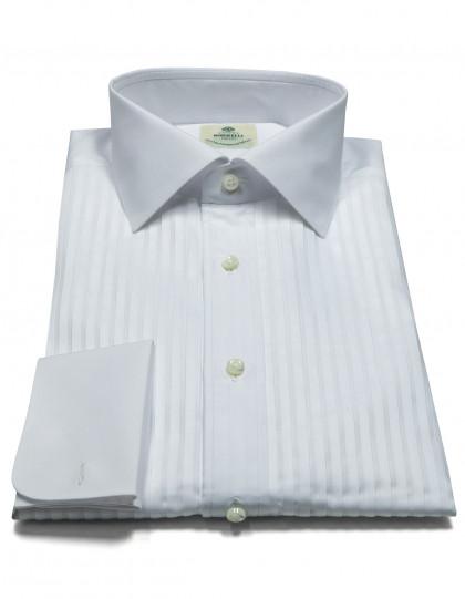 Luigi Borrelli Smokinghemd in weiß mit Doppelmanschette und Kentkragen