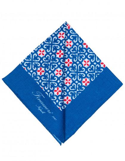 Finamore 1925 Einstecktuch in blau mit rotem Muster