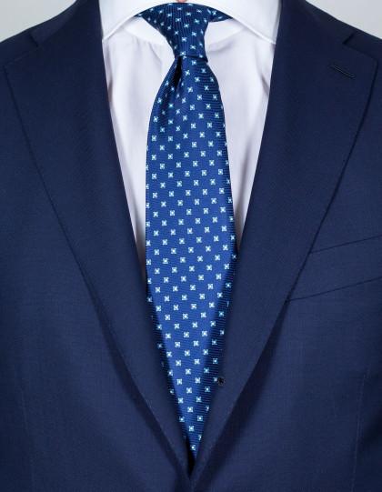 Kiton Krawatte in dunkelblau mit hellblau-weißem Muster