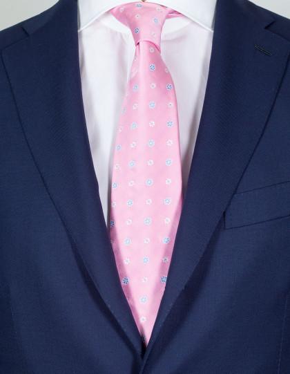 Luigi Borrelli Krawatte in rosa mit silber-weißen Blumen