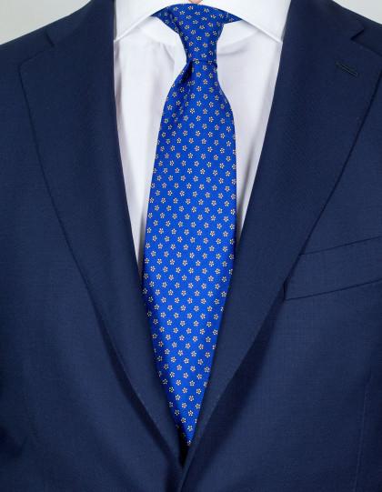 Luigi Borrelli Krawatte in blau mit weißen Blumen