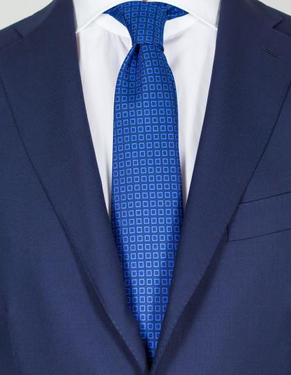 Kiton Krawatte in dunkelblau mit hellblauen Quadraten