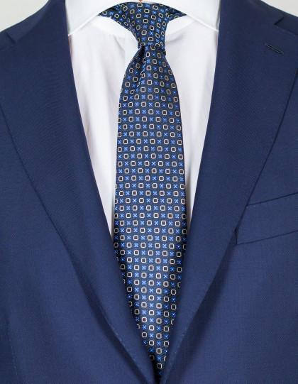 Kiton Krawatte in dunkelblau mit blau-weißen Blumen und dunkelblauen Quadraten