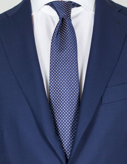 Kiton Krawatte in dunkelblau mit weißem Muster