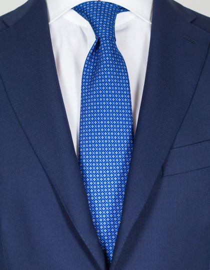 Luigi Borrelli Krawatte in blau mit beigem Muster
