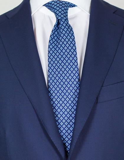 Luigi Borrelli Krawatte in dunkelblau mit blau-weißem Muster