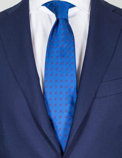Cesare Attolini Krawatte in blau mit roten Blumen