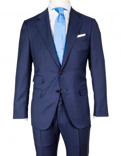 Caruso Anzu in blau mit Glencheckmuster und feinem hellblauem Überkaro aus Super 130'S Wolle