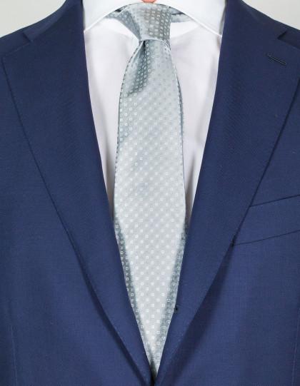 Kiton Krawatte in silber mit kleinen Quadraten