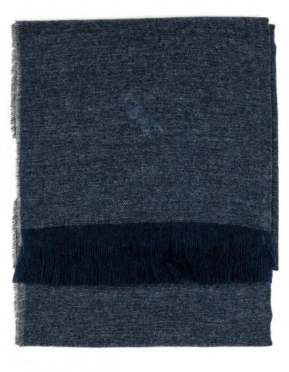 Kiton Schal in grau/blau mit dunkelblauen Fransen aus Kaschmir