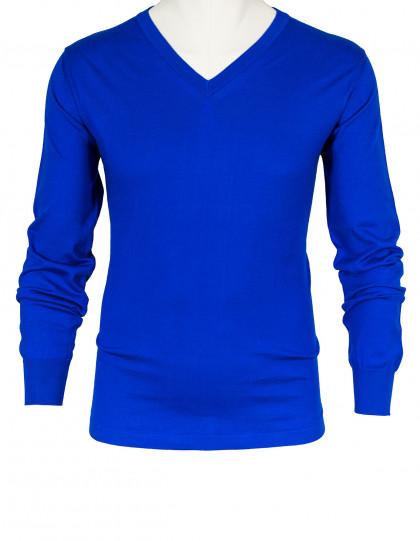 Fioroni V-Kragenpullover in blau aus Baumwolle/Kaschmir