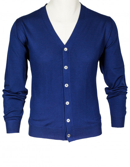 Fedeli Strickjacke in blau aus Super S'140 Wolle