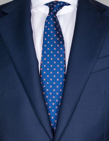 Kiton Krawatte in nachtblau mit rot/weißen Quadraten