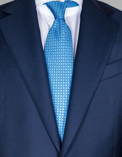 Kiton Krawatte in hellblau mit blauen Kreisen