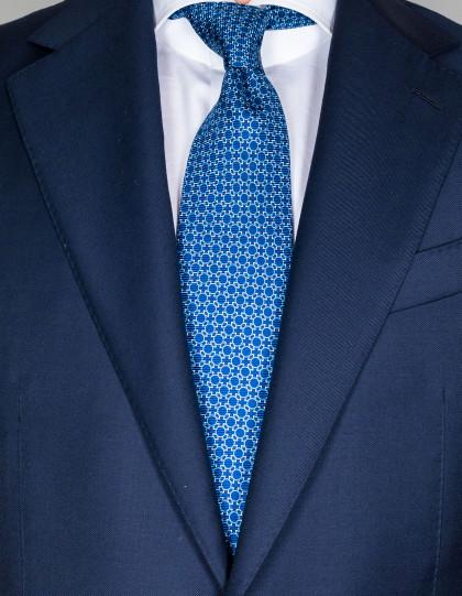 Kiton Krawatte in dunkelblau mit hellblauen Kreisen