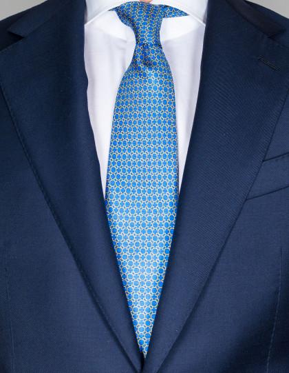 Kiton Krawatte in blau mit gelben Kreisen