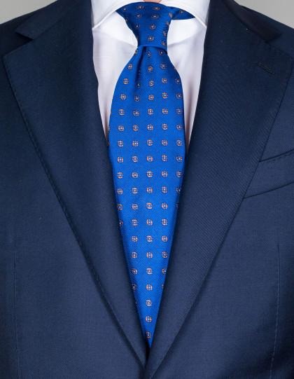 Cesare Attolini Krawatte in nachtblau mit braun-weißem Muster