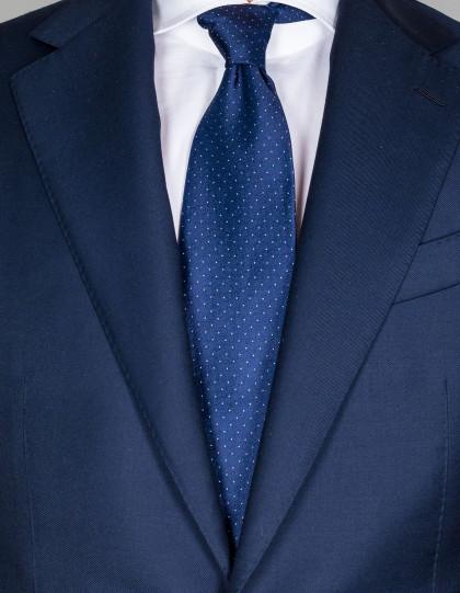 Luigi Borrelli Krawatte in dunkelblau mit kleinen weißen Punkten