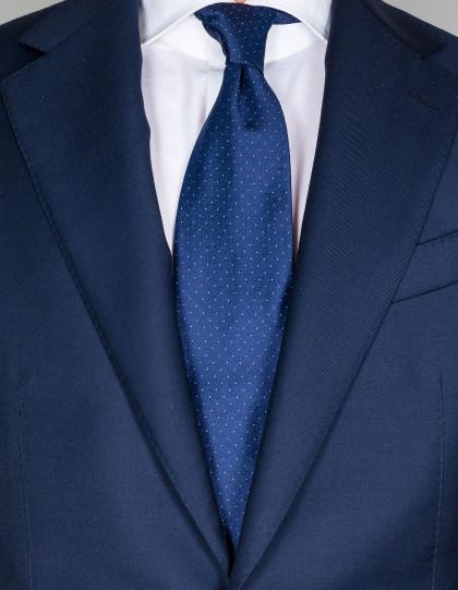 Luigi Borrelli Krawatte in dunkelblau mit kleinen hellblauen Punkten