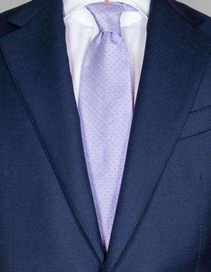 Luigi Borrelli Krawatte in lila mit kleinen dunkelblauen Punkten