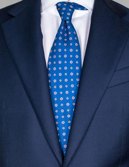 Luigi Borrelli Krawatte in blau mit rot/weißen Blumen