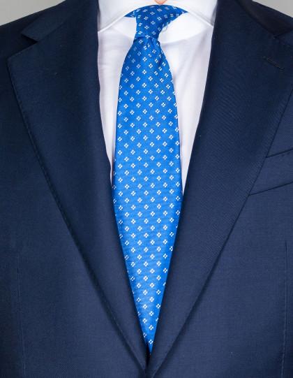 Kiton Krawatte in hellblau strukturiert mit weißen Blumen