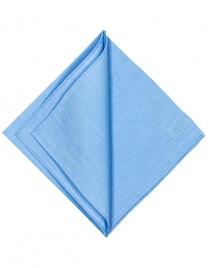 Simonnot Godard Einstecktuch in hellblau mit handrollierter Borte und leichter Struktur