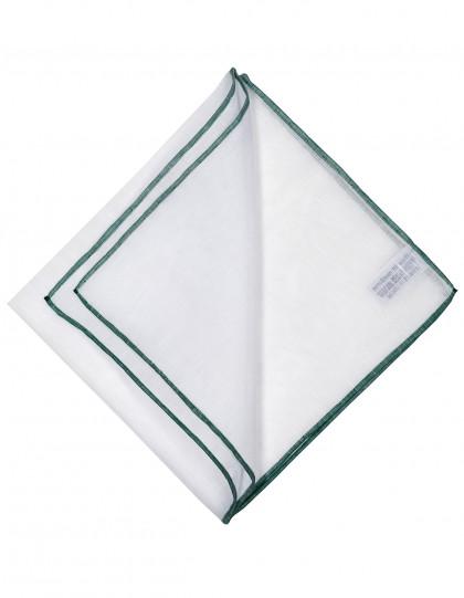 Simonnot Godard Einstecktuch in weiß mit grüner handrollierter Borte