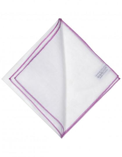 Simonnot Godard Einstecktuch in weiß mit violetter handrollierter Borte