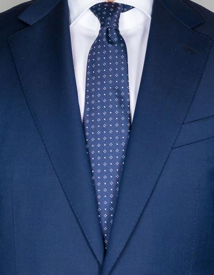 Kiton Krawatte in dunkelblau mit weißen Punkten