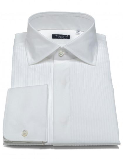 Finamore 1925 Smokinghemd in weiß mit Doppelmanschette und Kentkragen