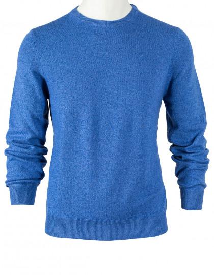 Fedeli Rundhalspullover in blau meliert aus Kaschmir