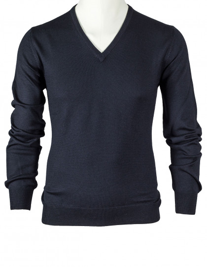 SOBS V-Kragenpullover in schwarz aus Schurwolle
